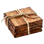 Thirstystone® Urban Farm Set of 4 Square Mango Wood Stump Coasters