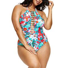 Fashion To Figure Martinique Floral Floral One Piece Swimsuit-Plus