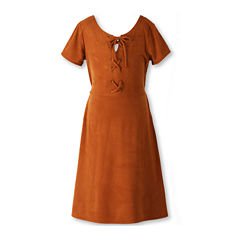 Speechless® Short-Sleeve Caramel Faux-Suede Fit-and-Flare Dress - Girls 7-16