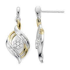 diamond blossom 1/4 CT. T.W. Diamond Sterling Silver with 14k Gold over Silver Accent Earrings
