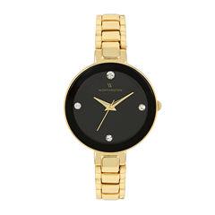 Worthington® Womens Gold Tone And Black Dial Bracelet Watch