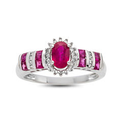 Glass Filled Rubyand Diamond Accent 10K White Gold Ring