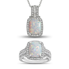 Lab Created Opal And White Sapphire Sterling Silver 2 Pc. Ring & Pendant Boxed Set
