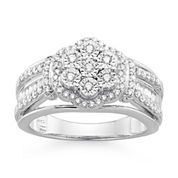 diamond blossom 1/2 CT. T.W. Diamond Miracle Plate Sterling Silver Ring