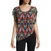 Alyx® Short-Sleeve Asymmetrical Knit Popover Top