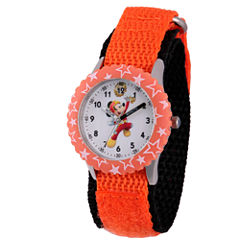 Disney Mickey Mouse Boys Orange Strap Watch-Wds000181