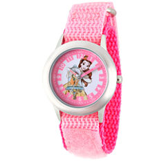 Disney Princess Belle Beauty and the Beast Girls Pink Strap Watch-Wds000188