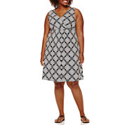 St. John's Bay® Sleeveless Surplice Printed Flip-Flop Dress - Plus