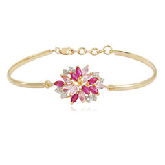 Lab-Created Ruby, Pink & White Sapphire Flower Bangle Bracelet in 14K Gold Over Silver