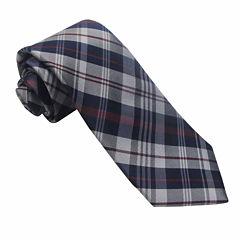 Stafford® Ecru Plaid Silk Tie