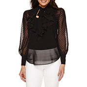 Bisou Bisou® Long-Sleeve Ruffled Top