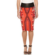Bisou Bisou® Faux-Leather-Waist Scuba Skirt
