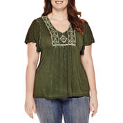 Unity™ Flutter-Sleeve Oil Wash Blouse - Plus