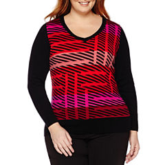 Worthington® Long Sleeve V-Neck Pullover Sweater - Plus