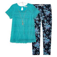 SE Short-Sleeve Crochet Top Legging Set w/ Necklace - Girls' 7-16 and Plus