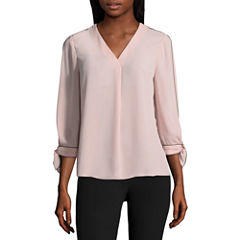 Worthington 3/4 Tie Sleeve V Neck Georgette Blouse