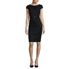 Alyx® Cap-Sleeve Solid Black Belted Splice Dress