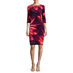 RN Studio by Ronni Nicole 3/4-Sleeve Side-Ruched Floral Sheath Dress - Petite