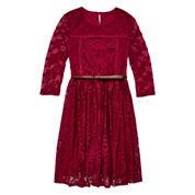 Arizona 3/4-Sleeve Burgundy Lace Skater Dress - Girls 7-16 and Plus