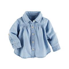 Oshkosh 3/4 Sleeve Button-Front Shirt Girls