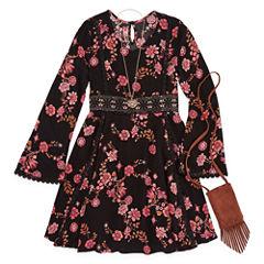 Knit Works Black Floral Long Sleeve Peasant Dress w/ Purse- Girls' 7-16