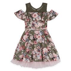 Knit Works Floral Cold Shoulder Skater Dress - Girls' 7-16