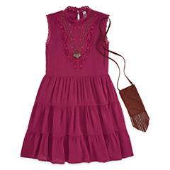 Knit Works Sleeveless Skater Dress w/ Purse & Necklace- Girls' 7-16