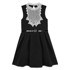 Knit Works Black Sleeveless White Lace Bib Skater Dress - Girls' 7-16