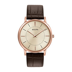 Bulova® Mens Rose Gold Tone And Brown Classic Ultra Slim Leather Strap Watch 97A126