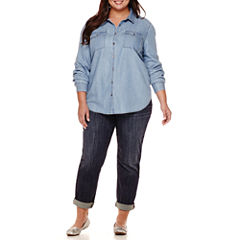 Liz Claiborne® Button-Front Denim Shirt, Pullover or Skinny Jeans