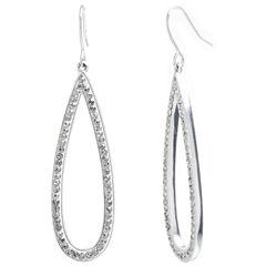 Sparkle Allure Clear Silver Over Brass Drop Earrings