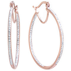 Sparkle Allure Clear Gold Over Brass Hoop Earrings