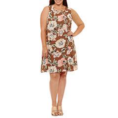 Luxology Sleeveless Floral Shift Dress-Plus
