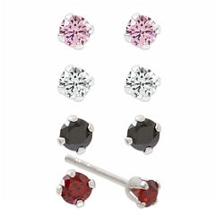 Sterling Silver Multi Colored Cubic Zirconia Earring Sets