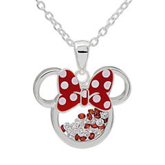Disney White Cubic Zirconia Silver Plated Brass Pendant