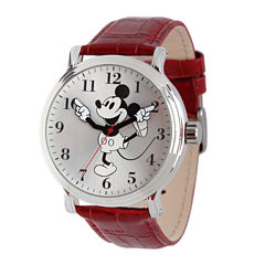 Disney Mickey Mouse Mens Red Leather Strap Vintage-Style Watch
