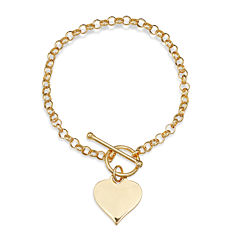14K Gold Over Sterling Silver Heart Toggle Link Bracelet
