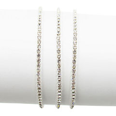 Vieste® Silver-Tone 3-pc. Crystal Stretch Bracelets