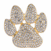 Pet Friends Crystal Gold-Tone Pavé Paw Pin