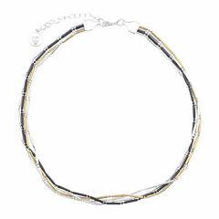 Liz Claiborne® Hematite 4-Row Bar Chain Necklace
