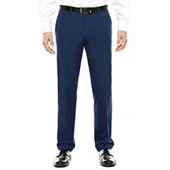 JF J. Ferrar® Blue Stretch Flat-Front Suit Pants - Super Slim-Fit