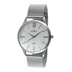 Peugeot® Mens Gray Dial Stainless Steel Mesh Watch 1052SBK