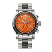 Croton Mens Orange Dial Stainless Steel and Black Ceramic Strap Watch