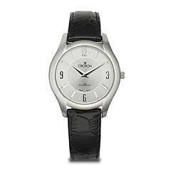 Croton Womens Black Leather Strap Watch