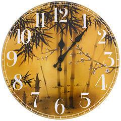Oriental Furniture Bamboo Tree Wall Clock