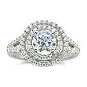 DiamonArt® 1½ CT. T.W. Cubic Zirconia Double Halo Ring