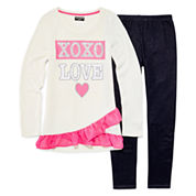 XOXO® Long-Sleeve Graphic Hatchi Top and Denim Knit Leggings Set - Girls 7-12
