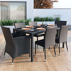 Sonax Park Terrace 7-pc. Charcoal Black Weave Patiodining Set