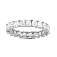 Diamonart Womens Diamond Accent Lab Created White Cubic Zirconia Sterling Silver Band