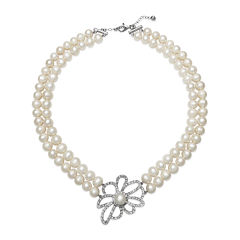 Cultured Freshwater Pearl and Crystal Two-Row Floral Necklace